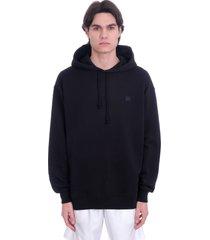 acne studios ferrin face sweatshirt in black cotton