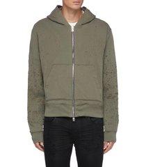 distressed detail zip up cotton hoodie