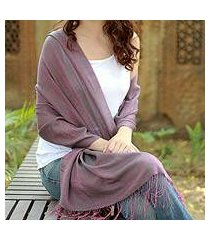 silk and wool reversible shawl, 'violet orchid' (india)