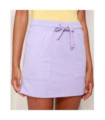 saia de moletinho feminina curta básica com bolsos e cordão lilás