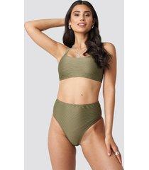 na-kd swimwear structured high waist bikini panty - green