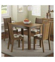conjunto sala de jantar madesa rute mesa tampo de madeira com 4 cadeiras rustic/floral hibiscos