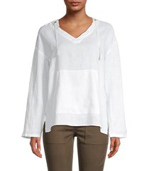 pure navy women's oversized linen hoodie - white - size s