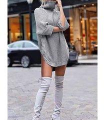 slit design high neck 3/4 length sleeves sweater