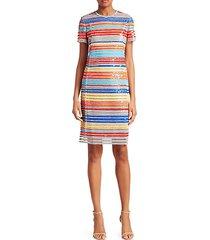 striped sequin sheath dress