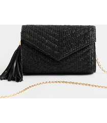 aj quilted envelope chain clutch - black