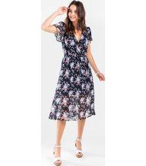 brielle floral midi dress - navy