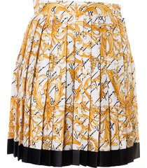 versace logo print pleated skirt