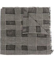 eleventy check-print fine-knit scarf - grey