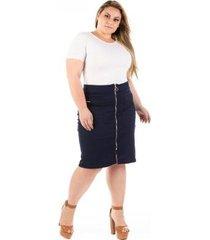 saia jeans midi com zíper frontal plus size