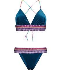 missoni mare velvet-mix bikini - blue