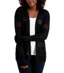 karen scott petite horizontal pointelle cardigan sweater, created for macy's