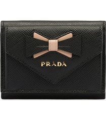 prada saffiano leather wallet with bow - black