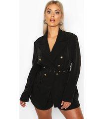 plus premium button detail belted blazer, black