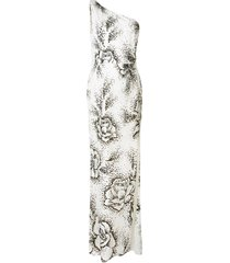 marchesa notte floral one shoulder gown - white