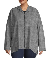 max studio women's plus plaid-print hooded jacket - grey - size 2x (18-20)