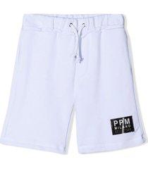 paolo pecora white cotton track shorts