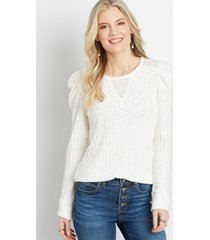 maurices womens solid ribbed lace inset puff sleeve top white