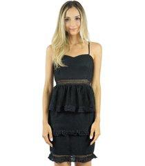 vestido liage curto liso babado de alça preto