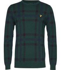tartan jumper gebreide trui met ronde kraag groen lyle & scott