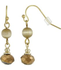 2028 gold-tone light brown bead wire drop earrings