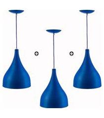 kit 3 lustres pd gota media alumínio 30cm soquete e27 azul