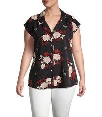 b collection by bobeau women's plus dakota floral blouse - dahlia black - size 3x (22-24)