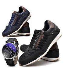 kit 02 pares de sapatênis sapato casual com relógio juilli 1100l preto e azul
