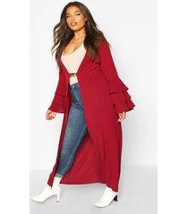 plus ruffle sleeve maxi chiffon kimono, berry