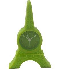relã³gio de mesa torre eiffel emborrachado cor verde 12x8x2cm - marrom - dafiti