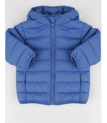 jaqueta infantil puffer com capuz e bolsos azul