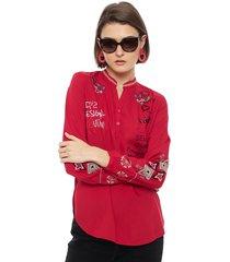 blusa desigual ml rojo - calce holgado
