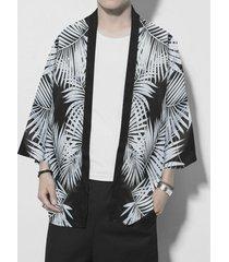 chaqueta de punto tropical con estampado de protección solar retro casual para hombre