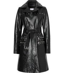 burberry trench coat com tachas e efeito amassado - preto