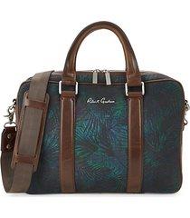 leaf-print cotton messenger bag