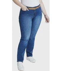 jeans recto con cinturon denim curvi
