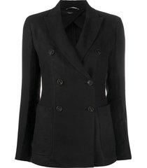 weekend max mara double breasted blazer - black