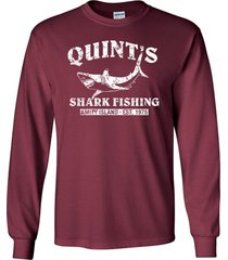 quint's shark fishing jaws retro amity long sleeve men's tee shirt 1206