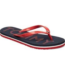 tommy footbed flat b shoes summer shoes flip flops blå tommy hilfiger