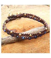 lapis lazuli braided bracelet, 'blue boho chic' (thailand)