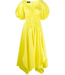 eudon choi puff-sleeve shirred dress - yellow