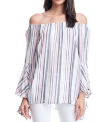fever striped bell-sleeve top