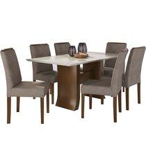 conjunto sala de jantar mesa + 6 cadeiras delazari canadá, imbuia - 191100
