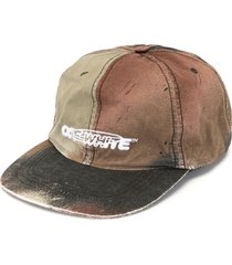 off-white distressed camouflage cap with logo embroidery - multicolour