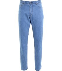 adam est 1916 adam broek 5-pocket denim stretch blauw