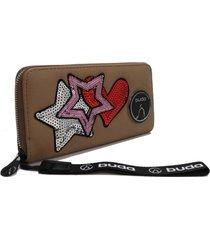 billetera marrón buda estrellas