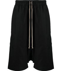 rick owens drkshdw drop-crotch track shorts - black