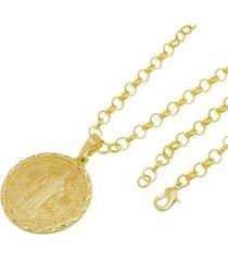 kit medalha são bento com corrente tudo jóias portuguesa folheado a ouro 18k