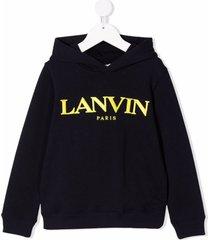 lanvin enfant logo-print cotton hoodie