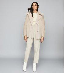 reiss kora - wool blend shearling detailed coat in neutral, womens, size 10